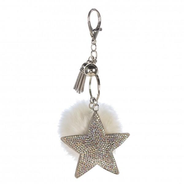 Schlüsselanhänger Taschenanhänger Stern Pompom silber weiß 11 cm