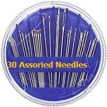Nadelbox mit 30 Handnähnadeln. Verschiedene Größen und Längen