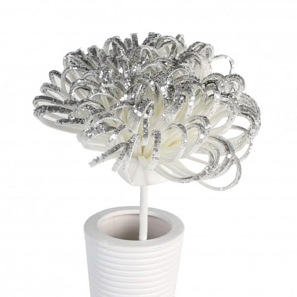 Kunstblume Foam Flower Cesena 2er Set grau weiß 50cm