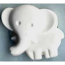 Kinder-Knopf Elefant 19 mm weiß
