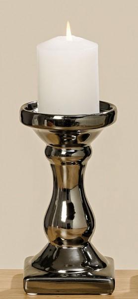 Kerzenleuchter Kerzenständer Steingut grau Höhe 17 cm