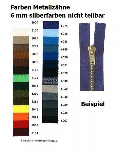 Reißverschlüsse Metallzähne silberfarben, Kettenbreite 6 mm nicht teilbar