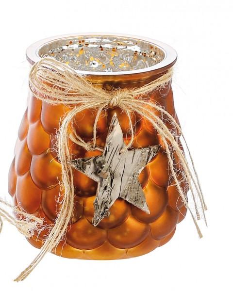 Windlicht Cone Teelichthalter Glas braun Ø 10 cm