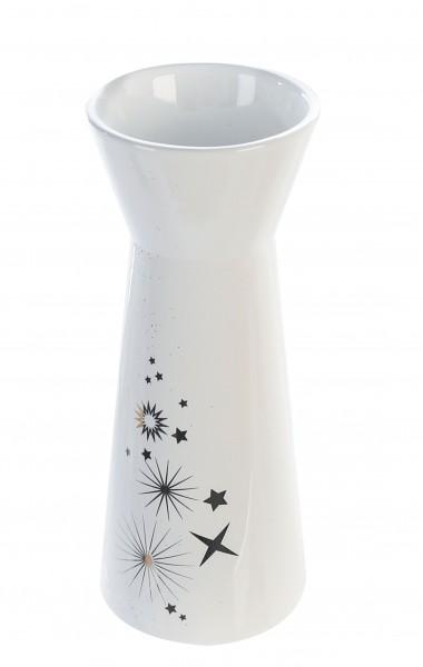 Vase Dekovase Sternstunden Keramik weiß 20 cm