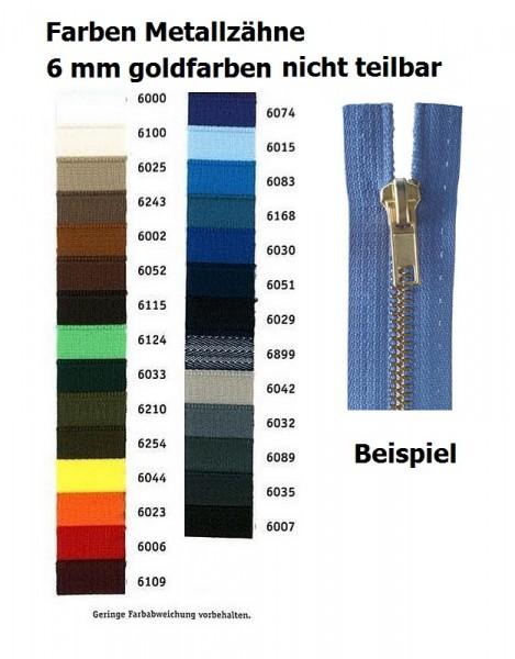 Reißverschlüsse Metallzähne goldfarben, Kettenbreite 6 mm nicht teilbar
