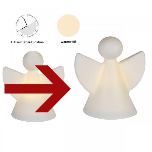 Engelfigur aus Keramik mit LED Beleuchtung weiß, matt 8,5 cm