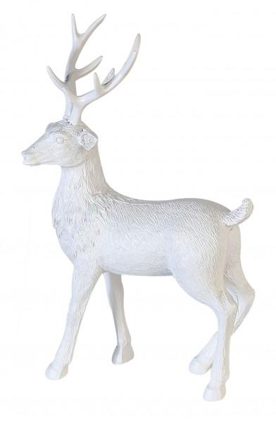 Dekofigur Hirsch Adventsdeko Poly matt weiß 37 cm