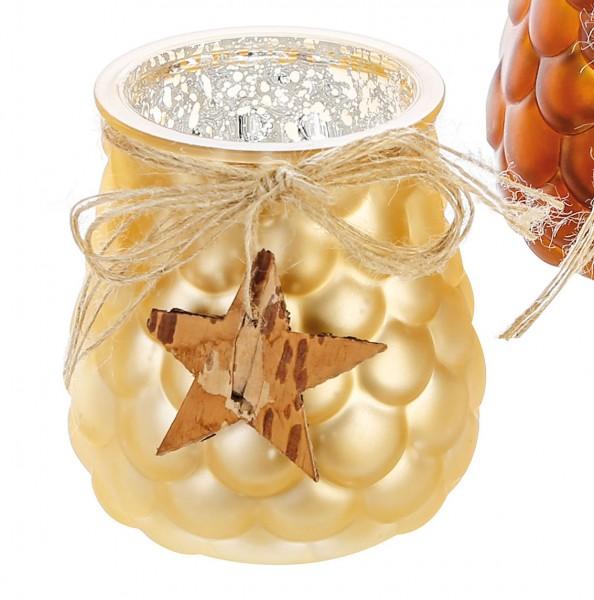 Teelichthalter Windlicht Cone Glas champagner Ø 10 cm