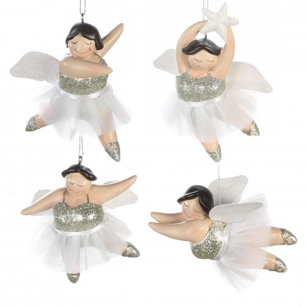 Engel Weihnachtsbaumschmuck Hänger Betty mit Tütü 4er Set gold