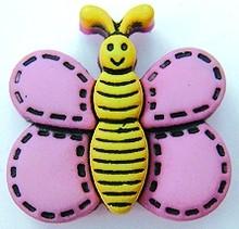 Kinderknopf Schmetterling rosa