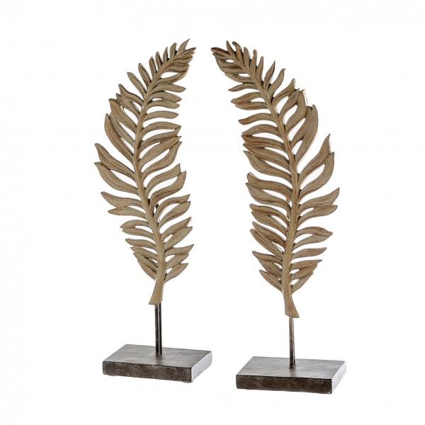 Skulptur Dekoobjekt 2er Set Blätter Farn Leaf Poly braun 56 cm
