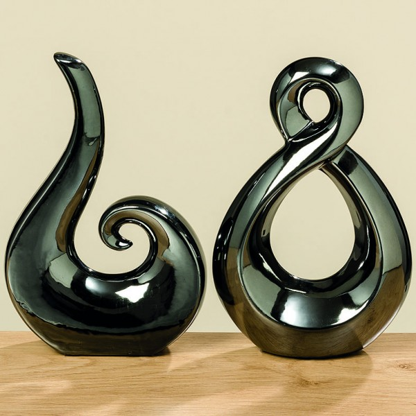 Deko-Objekt 2er Set Celly Skulptur Steingut grau Höhe 24 cm