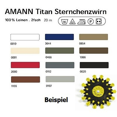 Titan-Sternchenzwirn 11 Farben 100 % Leinen 20 m