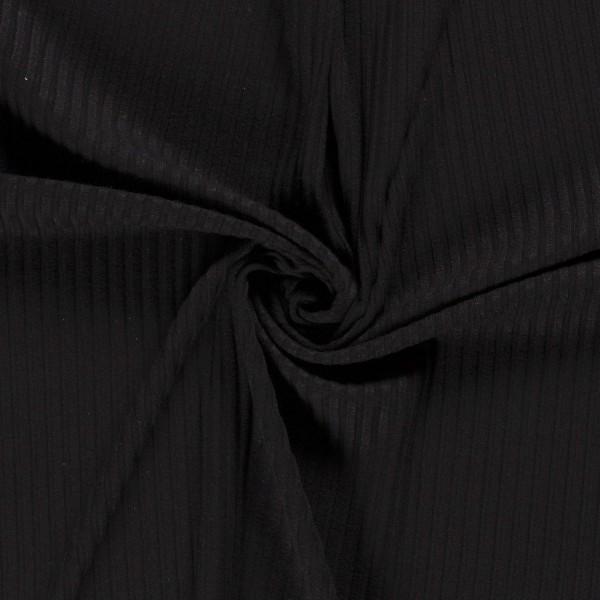 Strickstoff uni schwarz gerippt 0,5 Meter
