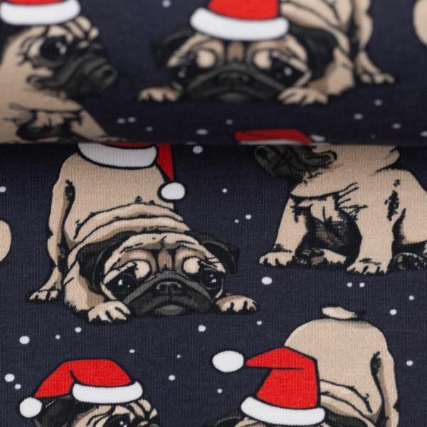 Weihnachtsstoff Möpse dunkelblau Hunde Weihnachten Jersey Baumwolle 0,5m