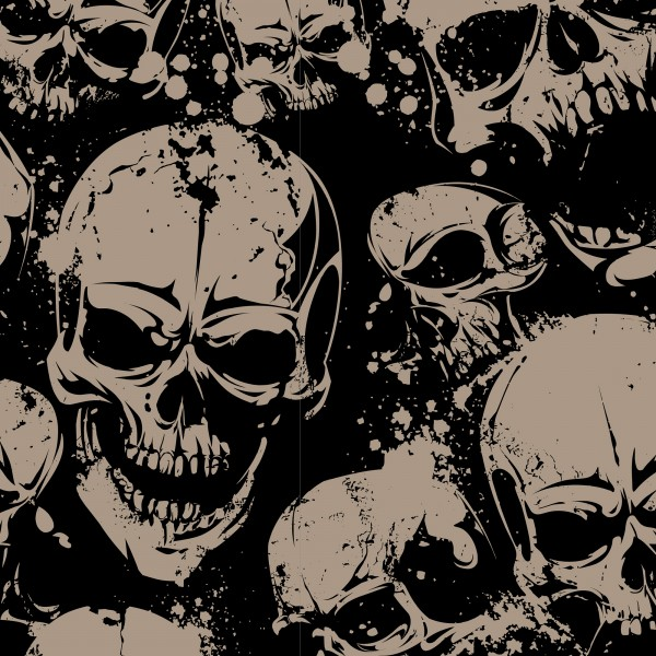 Baumwolle Totenkopf Skulls schwarz beige 0,5 Meter
