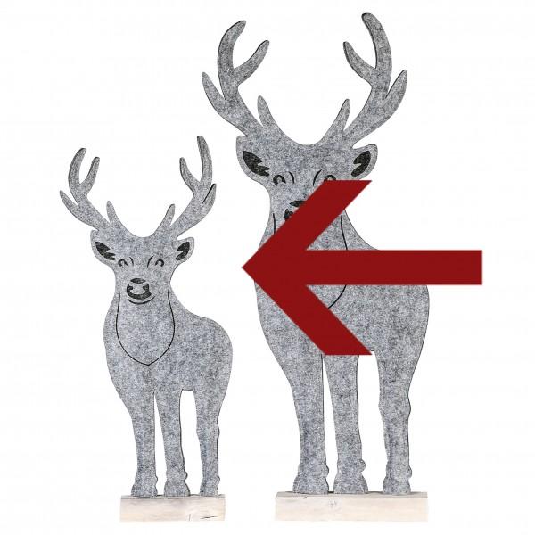 Dekofigur Weihnachtsfigur Rentier Homely Filz / Holz grau / weiß 63 cm