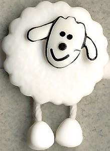 Kinderknopf Schaf mit Beinen weiß-schwarz