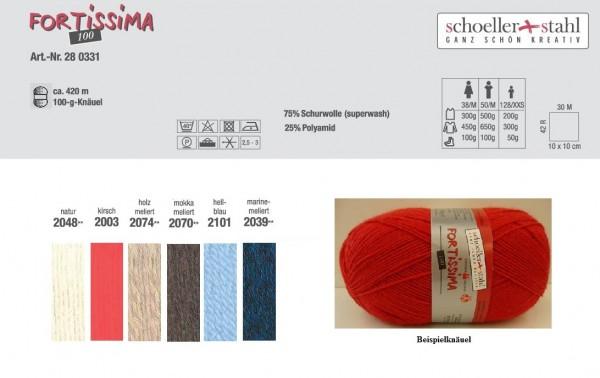 Fortissima Strumpfwolle 4 fädig uni 6 Farben