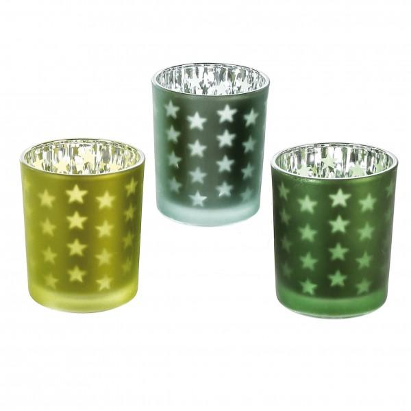 Teelichthalter Windlicht 3er Set Starry grün Ø 7 cm